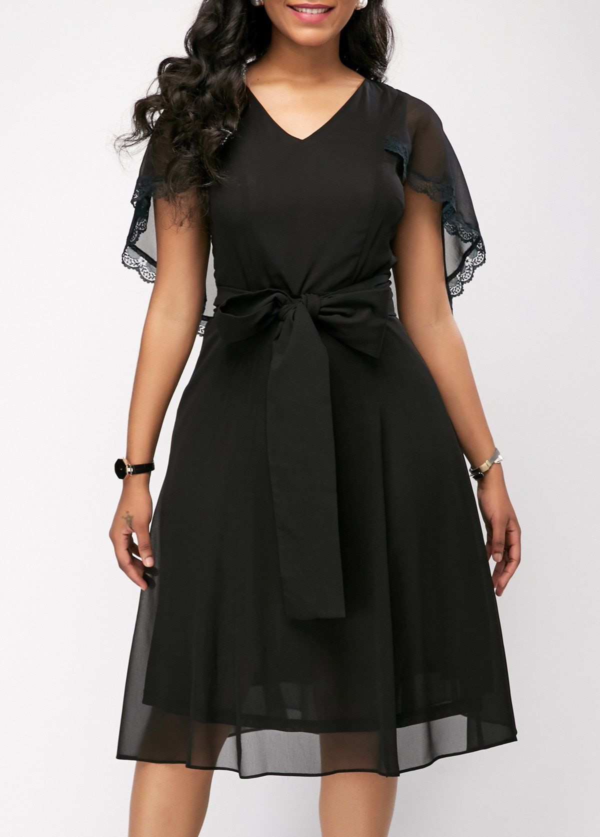 b882bfac5988f7 Mesh Patchwork Belted Chiffon Black Cape Dress. Mesh Patchwork Belted Chiffon  Black Cape Dress Women's Fashion Dresses ...