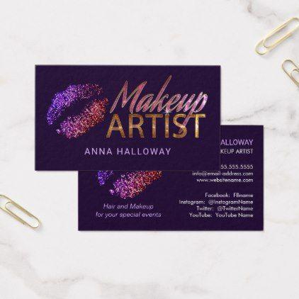 Faux Glitter Look Lips Bling Text Makeup Artist Business Card Zazzle Com Makeup Artist Business Cards Makeup Artist Business Artist Business Cards