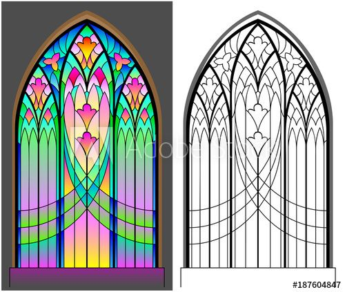 Photo of Colorful and black and white pattern of Gothic stained glass window. Worksheet for children and adults. Vector image.