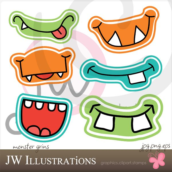 And they're Grinning like little Monsters! This SUPER cute Monster Grin set of graphics comes with 6 unique smiling monster mouths. Print 'em out, tape 'em to a straw and you've got some serious fun going on! Great for Monster Birthday Parties!    Graphics are made in High Quality 300 dpi and come in JPG, PNG & EPS format.
