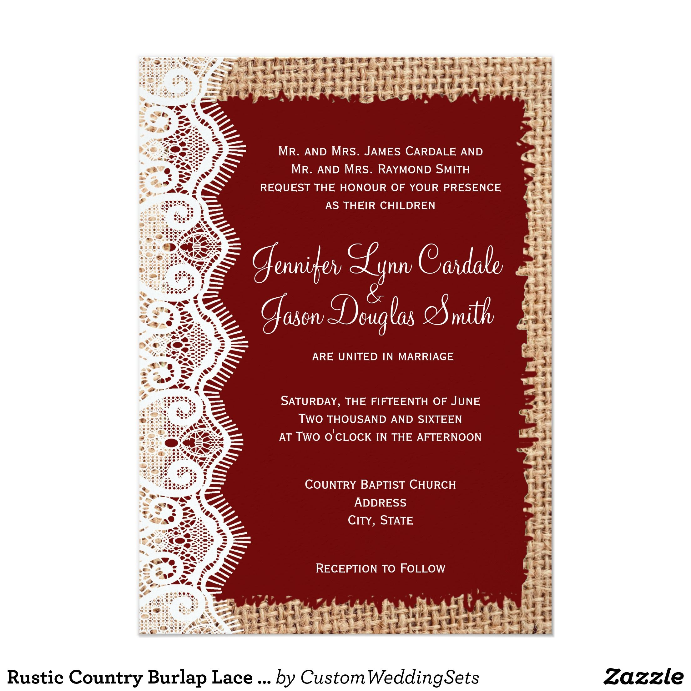 Rustic Country Burlap Lace Red Wedding Invitations | Pinterest | Red ...