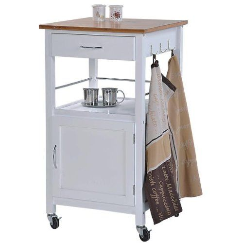 Minimalistischer Küchenwagen mit einer braunen Arbeitsfläche aus ... | {Küchenwagen schmal weiß 16}