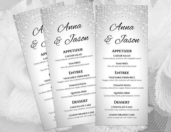 DIY Printable Wedding Menu Template Sparkly Editable MS Word - menu template for word