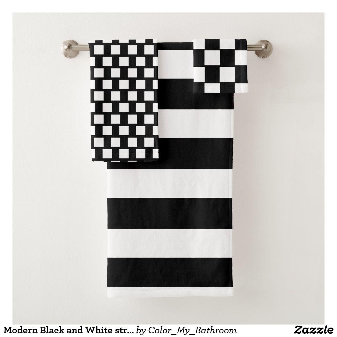 Modern Black And White Stripes Bathroom Bath Towel Set Zazzle