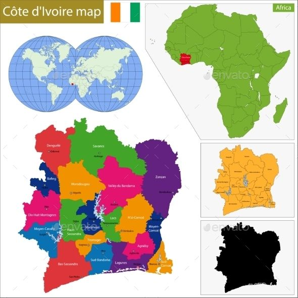 Ivory Coast Map Vector EPS CS Abidjan Administrative Africa - Ivory coast map of africa