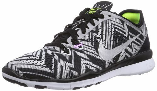 Nike Women's Free TR Fit 5 Prt Black/Mtllc Silver/White /Vlt Running Shoe 6  Women US. Herringbone sole provides multidirectional traction and supports  ...