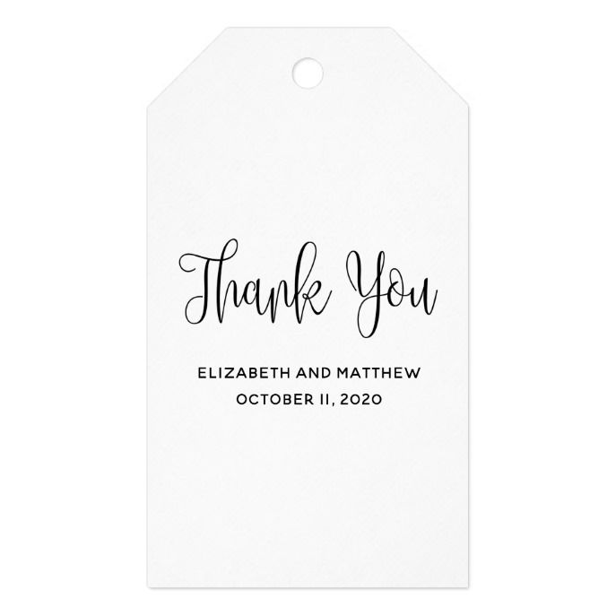 Black And White Simple Wedding. Modern Thank You Gift Tags