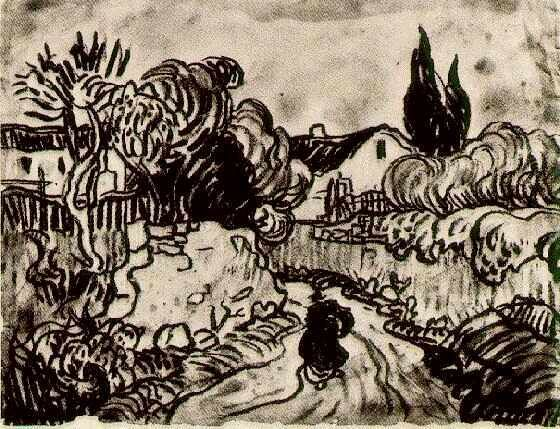 Vincent van Gogh: The Drawings (Landscape with Houses among Trees and a Figure, Auvers-sur-Oise: June-July, 1890)