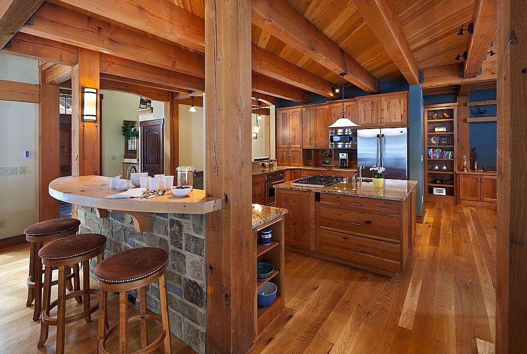 Granite  Complex Island Breakfast Bar Exposed Beams Rustic Impressive L Shaped Country Kitchen Designs Decorating Design