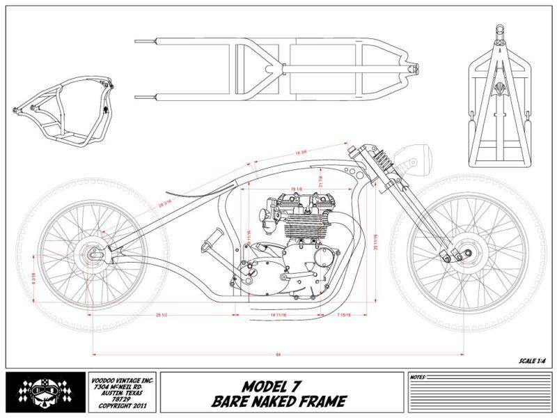 cafe motorcycle frame blueprints