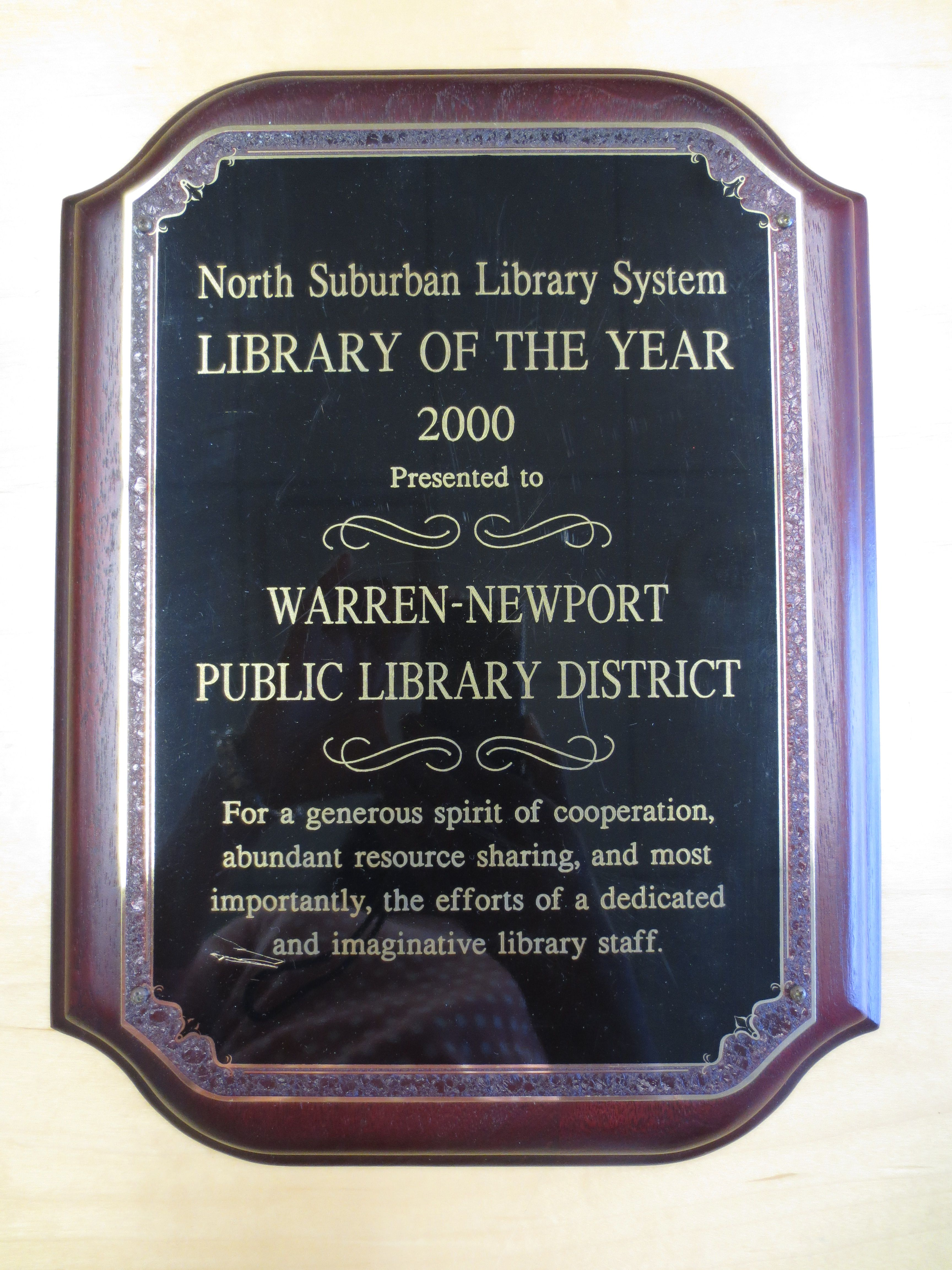 North Suburban Library System Library of the Year 2000 For