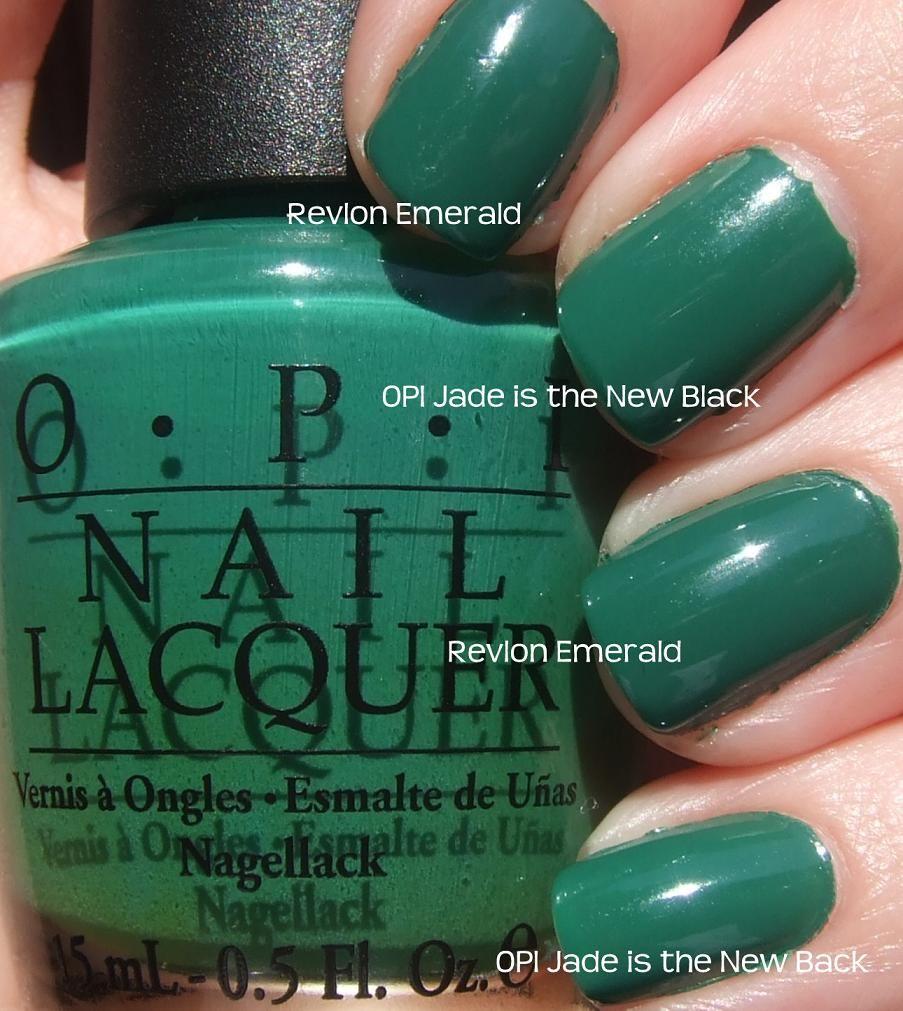 OPI – Jade Is The New Black vs Revlon – Emerald | Polish Dupes ...