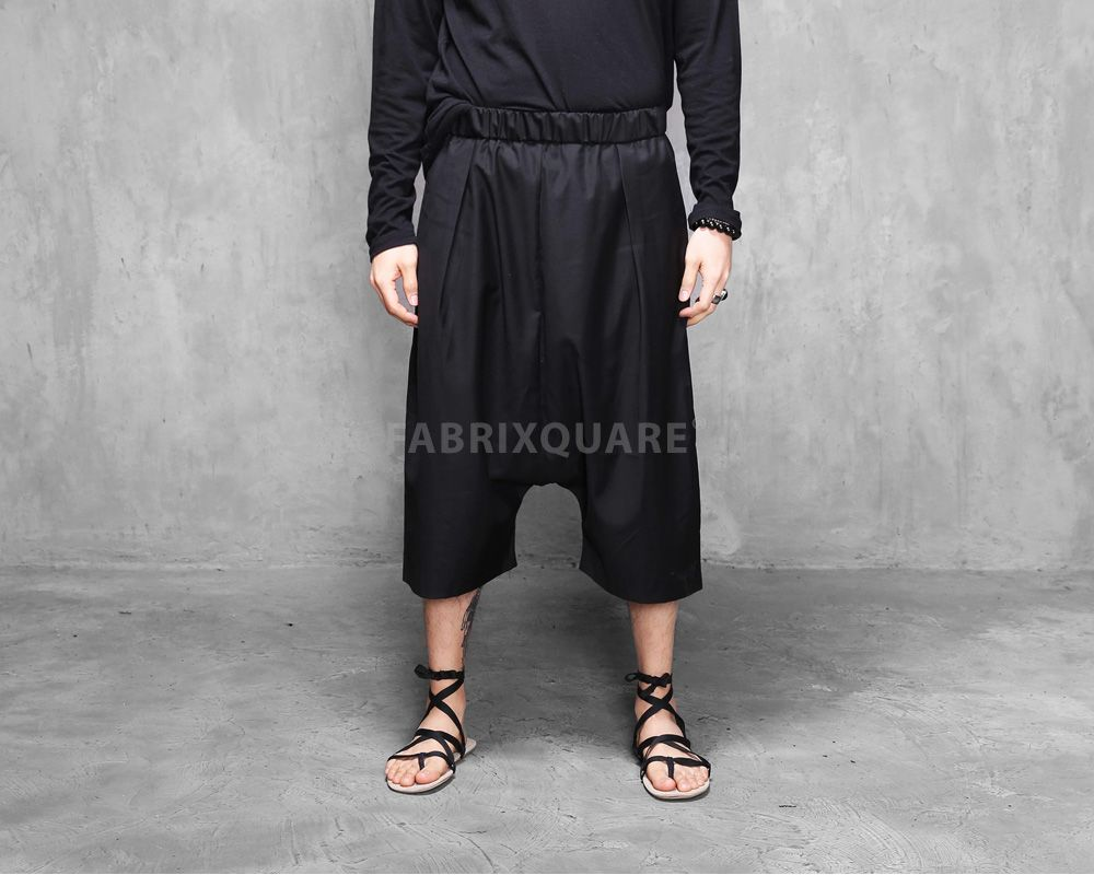 Mens mega drop crotch wool baggy dress shorts at fabrixquare