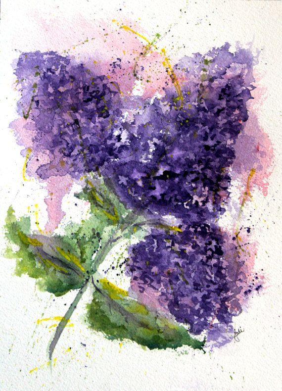 Original Lilac Love Watercolor Painting Lilac by McKinneyx2Designs