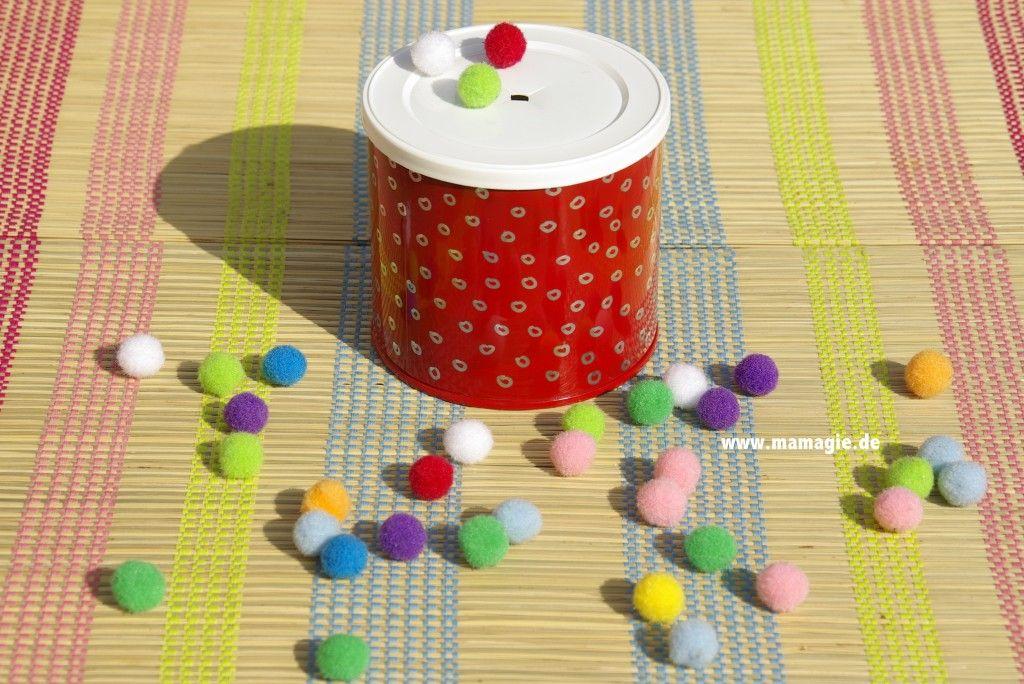 Steckspiel für kinder aus erdnussdose krippe pinterest