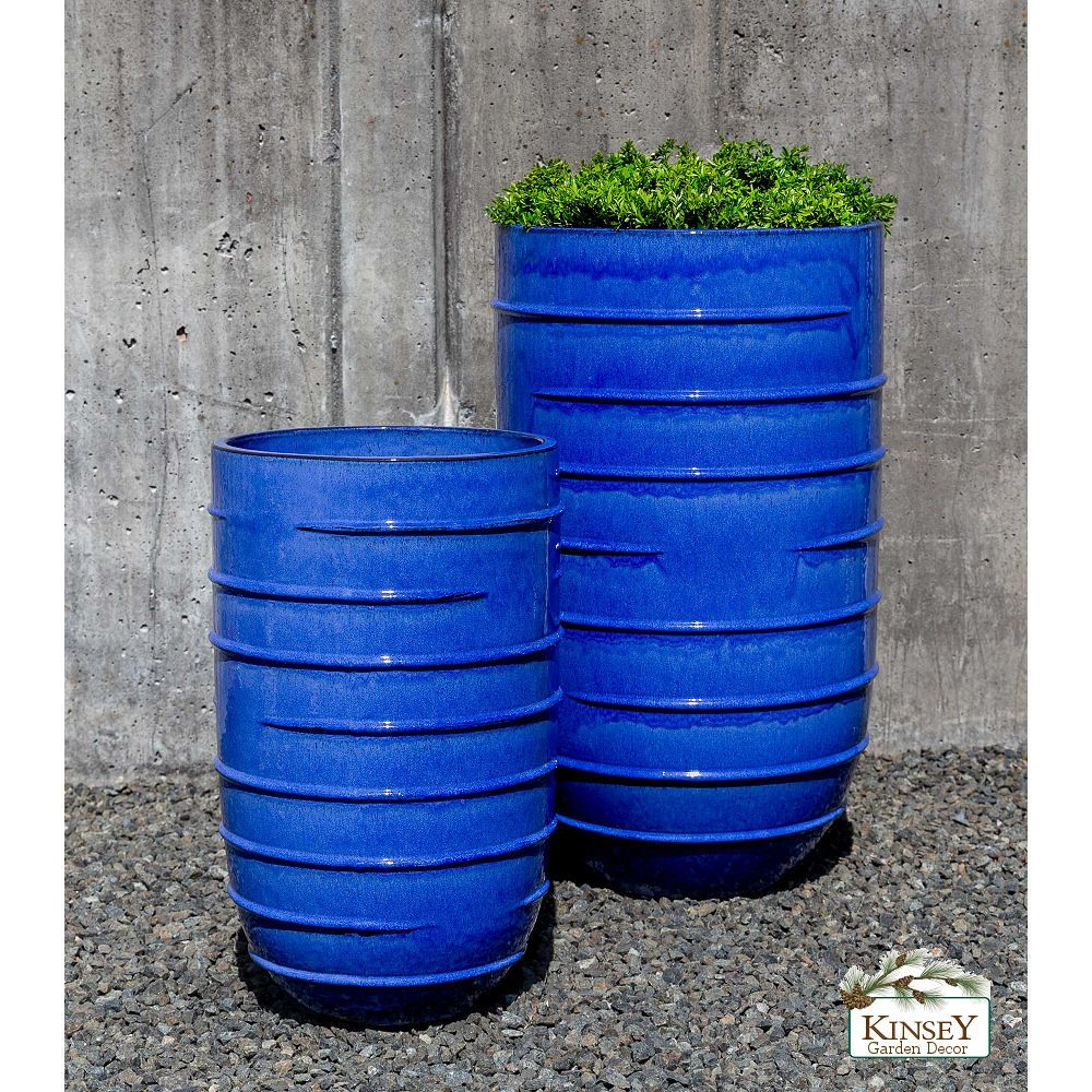 Kinsey Garden Decor Planter Extra Tall Planters Riviera Blue Ceramic Indoor Outdoor Floor Vase Flower Pots Tall Planters Planters Blue Planter