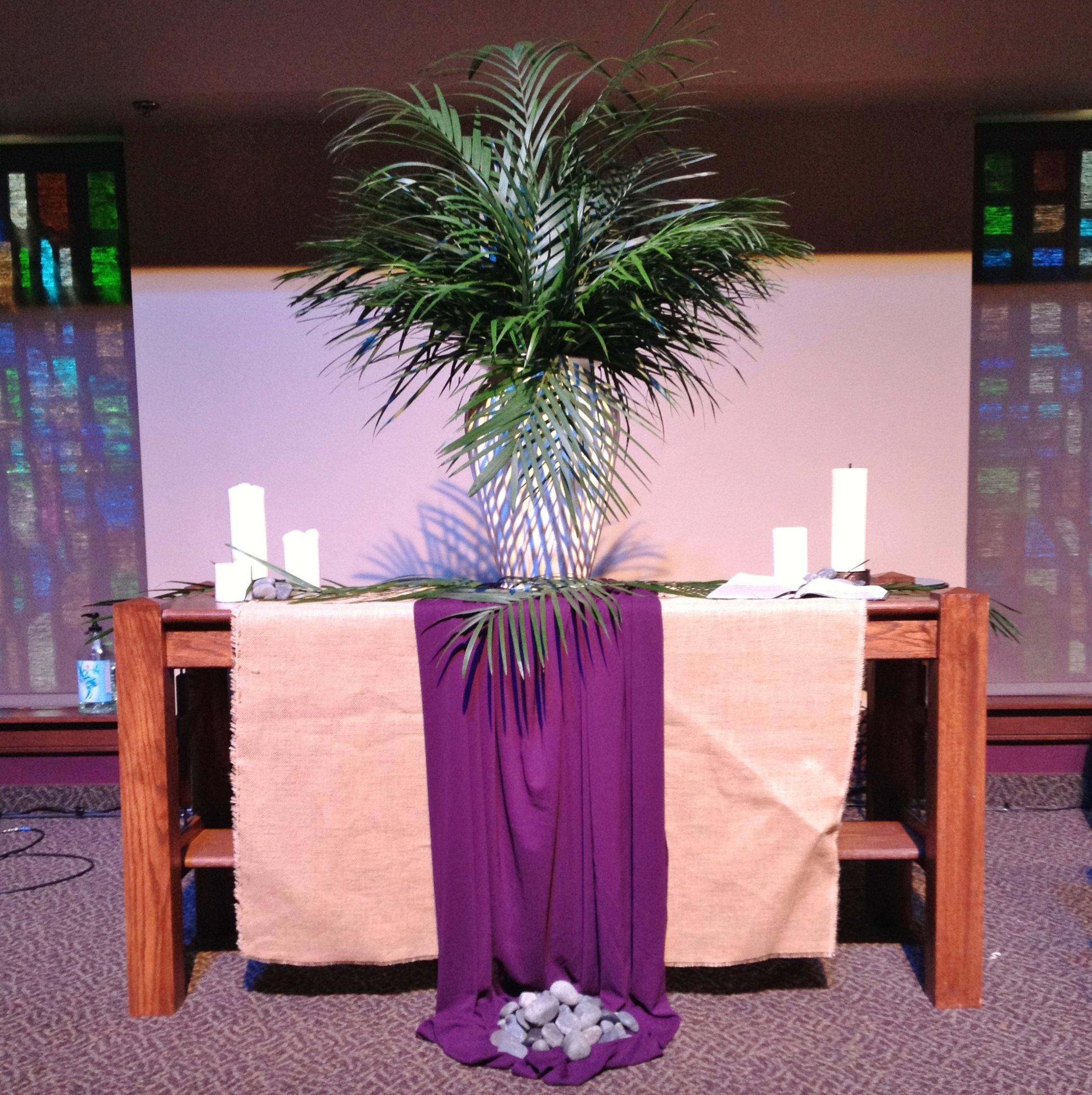 Church Altar Decorations: GAUMC Worship Center Palm Sunday Altar 2014