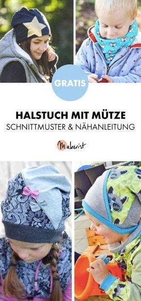 Gratis Anleitung: Halstuch und passende Mütze für Kinder nähen ...