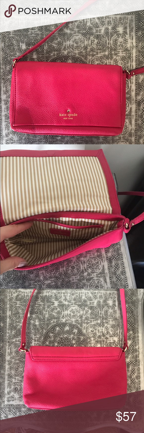 Kate Spade cross-body Bright pink and full of life! Never used tiny cross body kate spade Bags Crossbody Bags