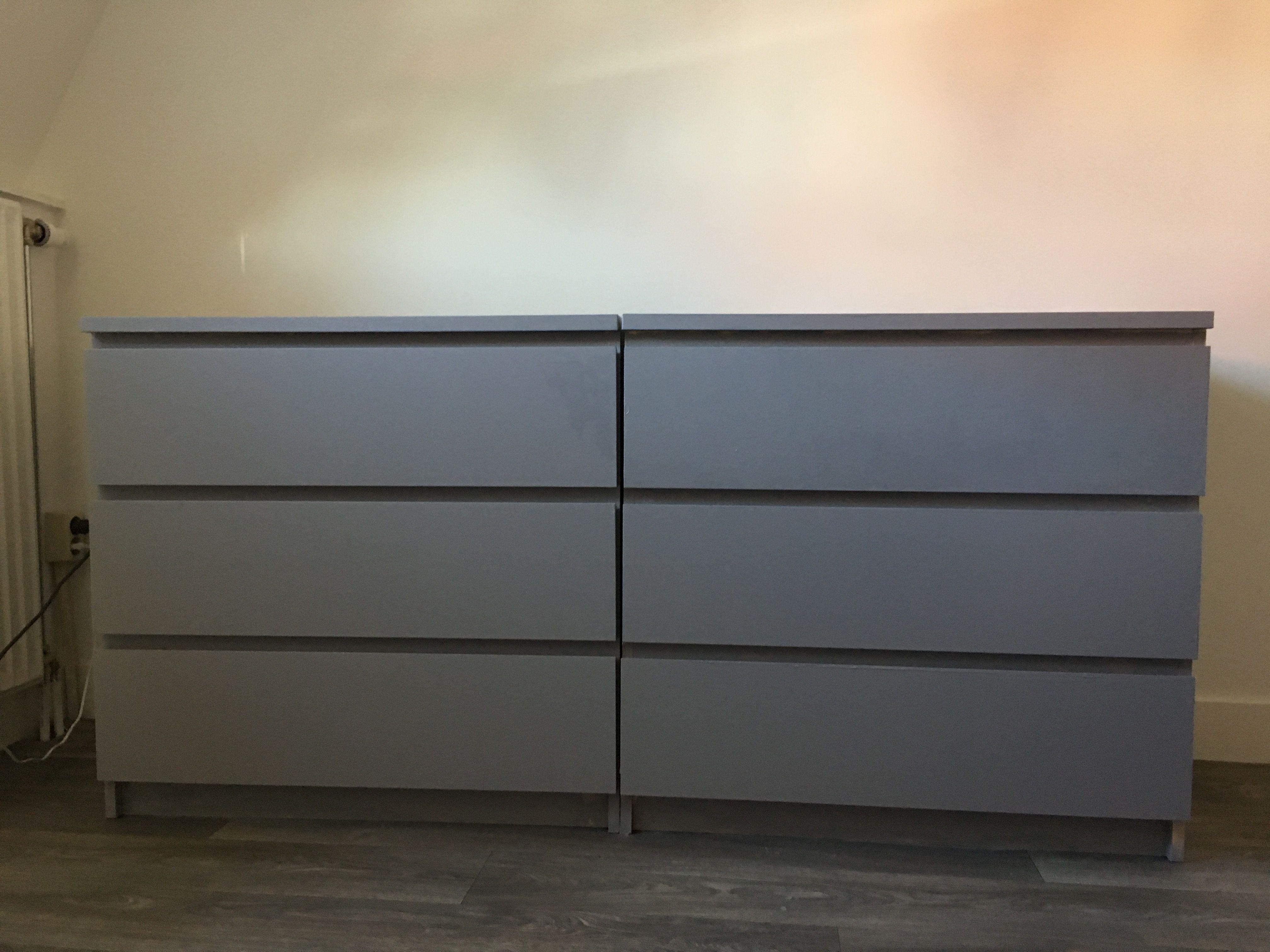 Ikea Malm Kast Met RAL 7036 Acryl Satijnlak Van Action Geschilderd
