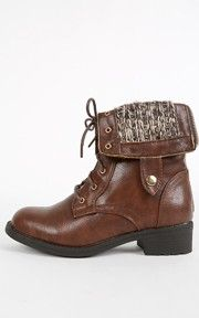 Dason-03 Sweater Fold Over Combat Boots BROWN