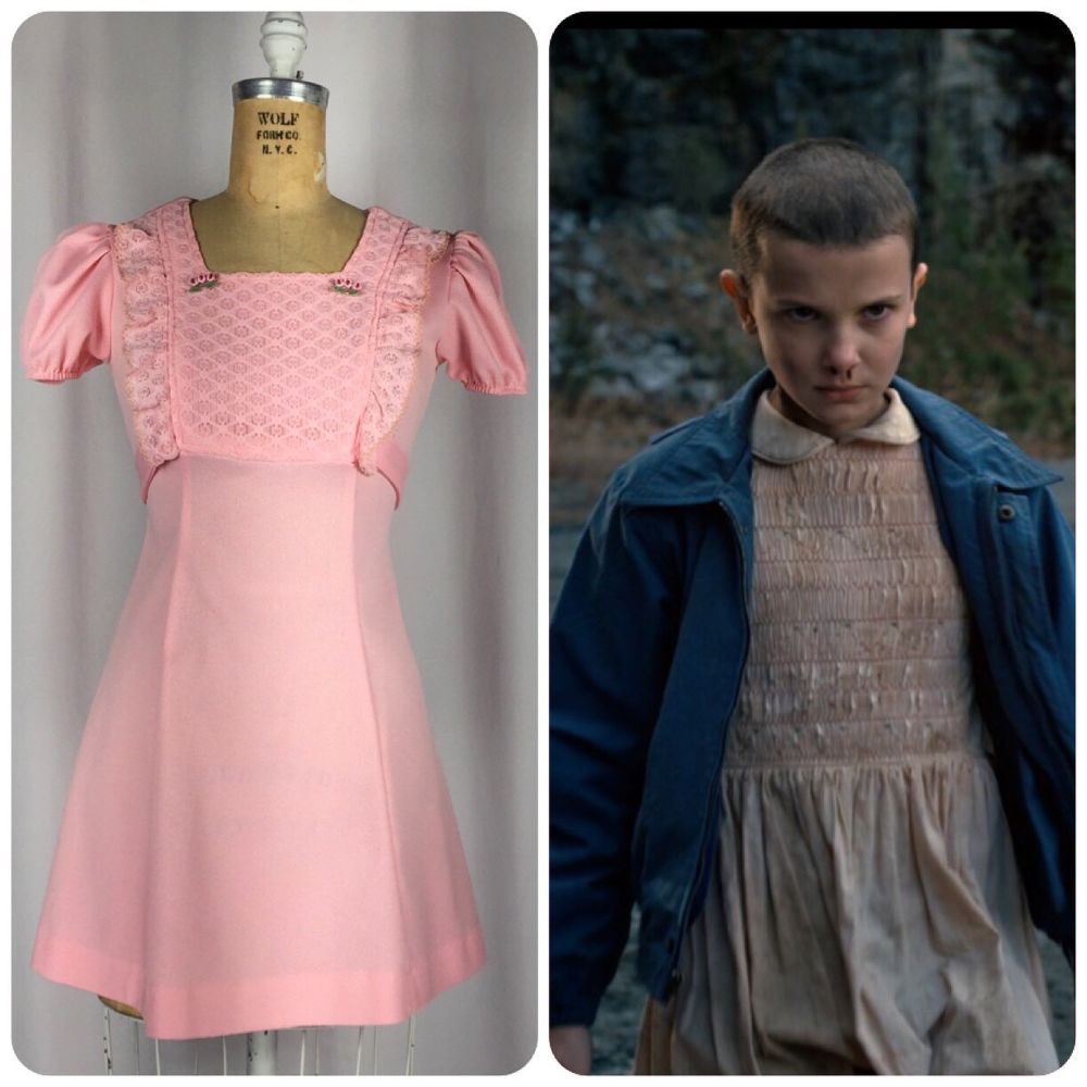 Vintage 80\'s Baby Pink Eleven Dress Netflix Stranger Things Cosplay ...
