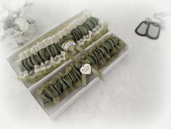 Military Wedding gift set Army Wedding Garters Gift Set for Bride. Military Bride Garters Army Wedding Garter Set
