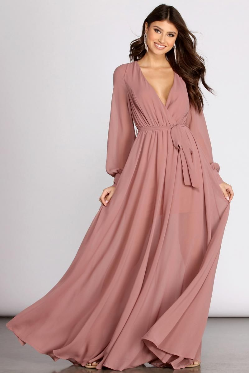 Bryn Chiffon A Line Formal Dress In 2021 Maxi Dress With Sleeves Formal Dresses Dresses [ 1200 x 800 Pixel ]