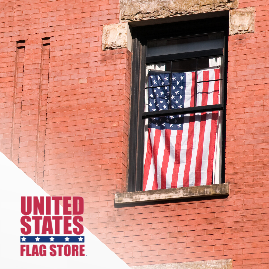 American Flag Etiquette For Your Home If You Choose To Hang Your Flag In A Window Place The Blue Unio Flag Store United States Flag American Flag Etiquette