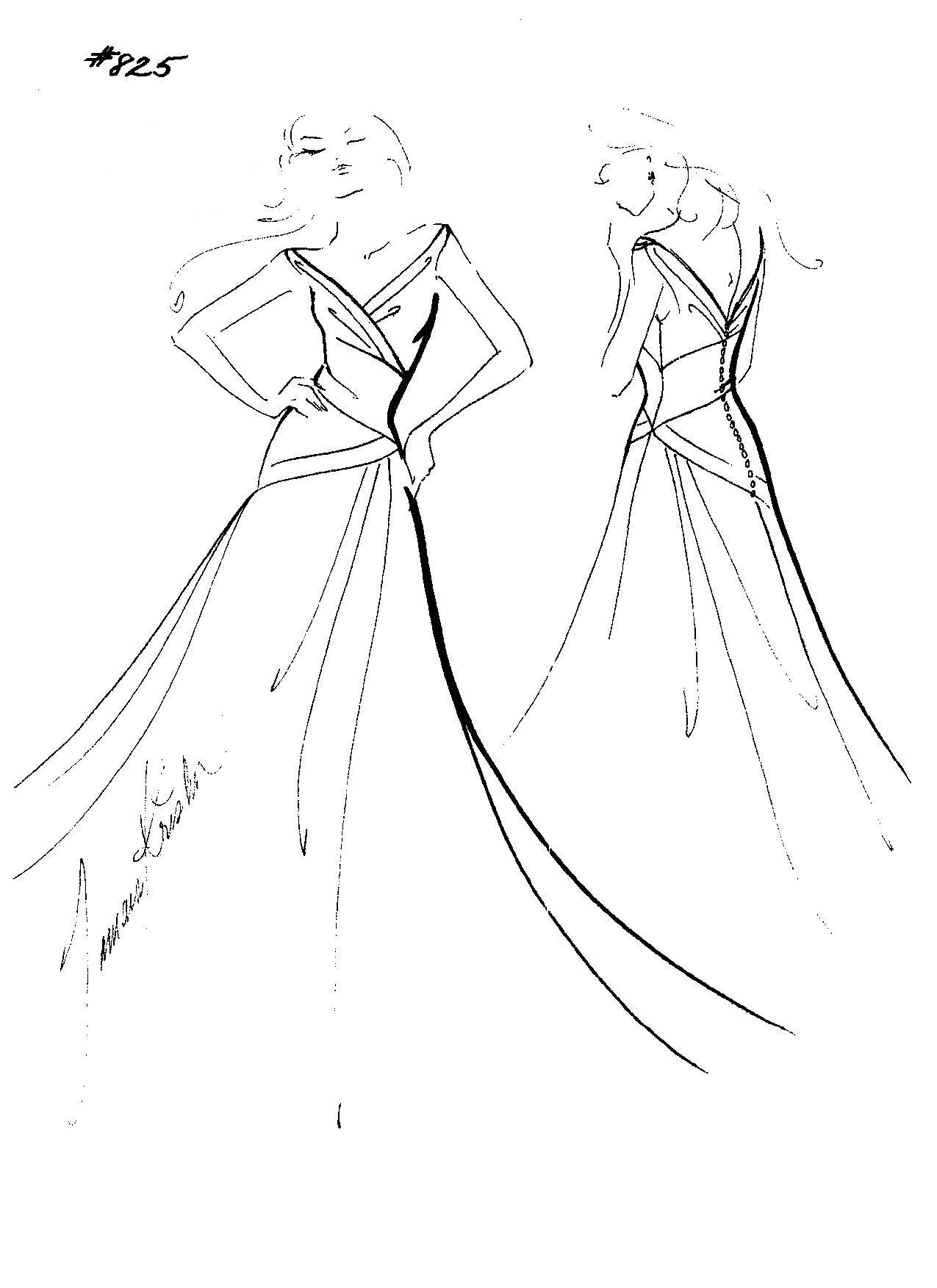 Wedding dress designerus sketch marisa vneck aline