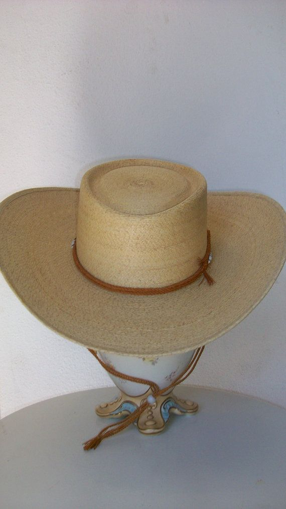 d77d53f3e8538 Vintage Mexican Cowboy hat in natural straw with rope by NelandAda ...