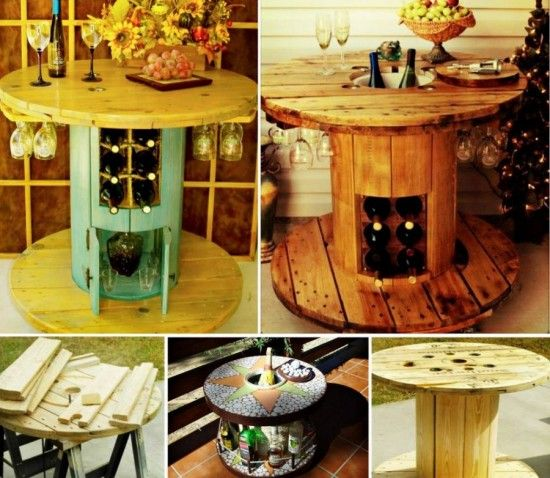 Love The Repurposed Spool Cable Used As A Wine Rack Table