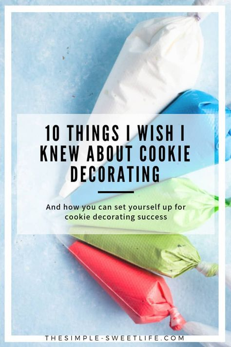 10 things I wish I knew about cookie decorating New to the wonderful world of cookie decorating? Here are 10 tips to set you up for cookie decorating success! You'll find everything you need to know about common royal icing mistakes, making custom cookie shapes without a traditional cutter, stenciling without fancy equipment and more. via @clairellynrose