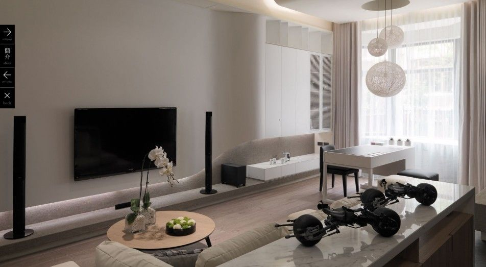 [Living Room] : Elegant Living Room Design Ideas With White Shades Available White Couch With White Attractive Coffee Table Along With Flat Screen Television With Home Theatre System Also Attractive Ball Chandelier Also Bay Window With White Curtain