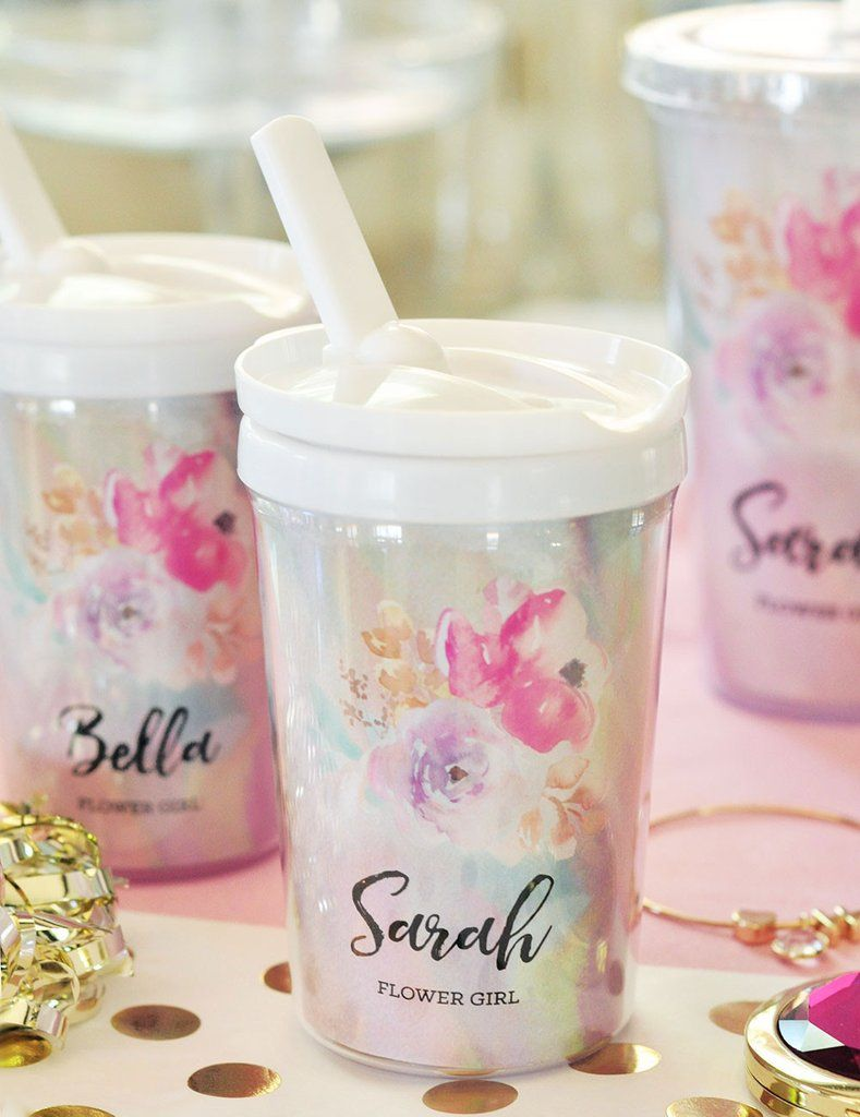 Flower Girl Sippy Cups | Sippy cups, Bridal parties and Cups
