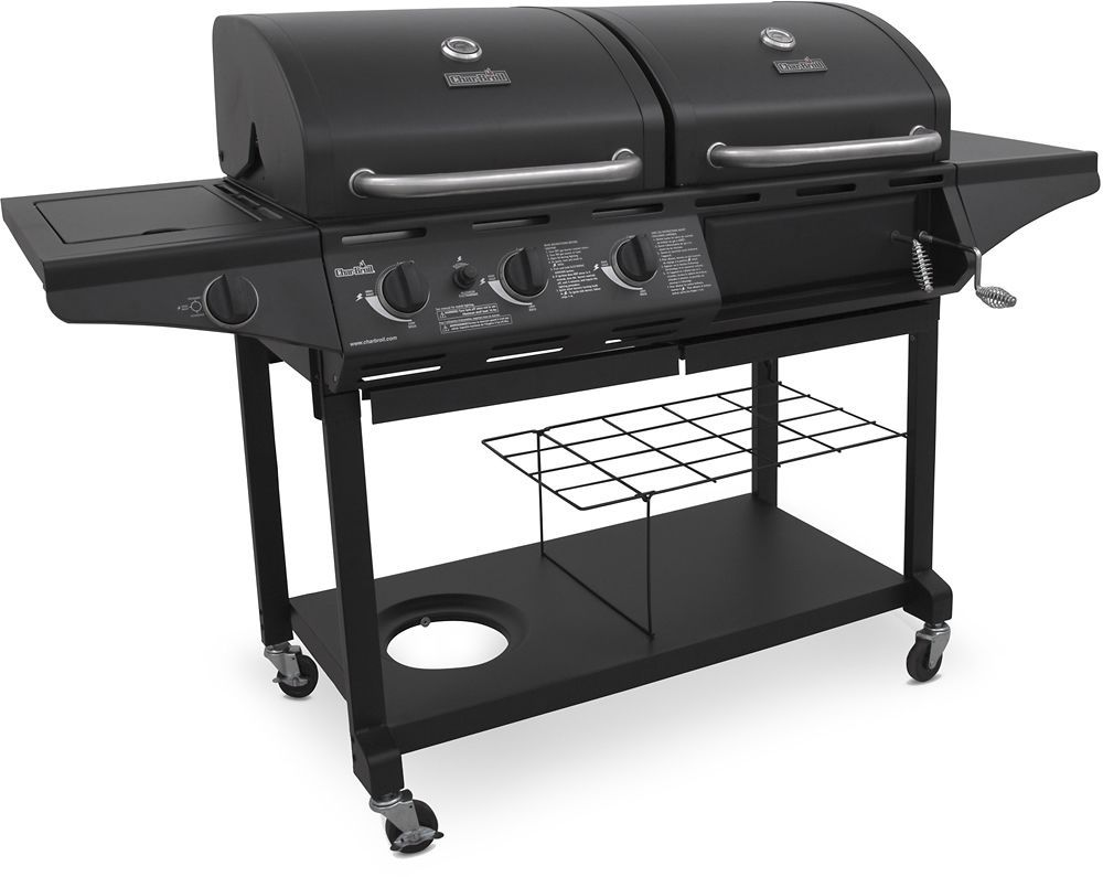 Bester Holzkohlegrill : Char broil gas and charcoal grill black chrome black grey