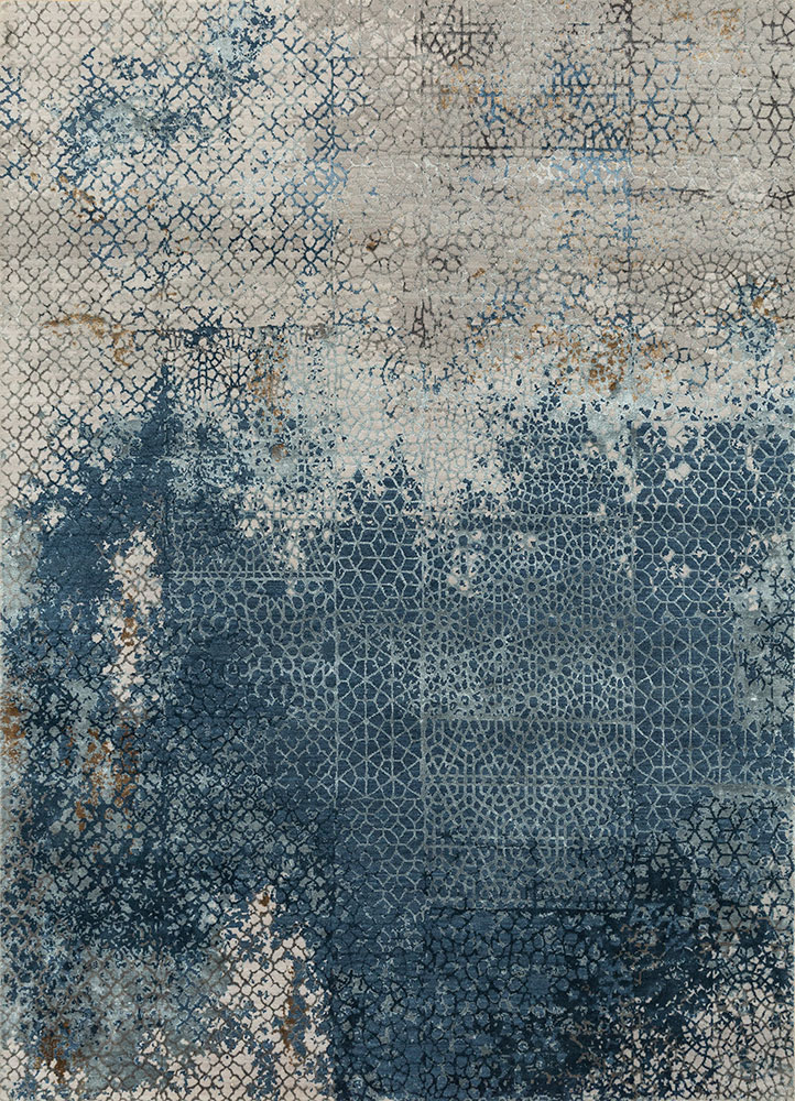 Hand Knotted Wool And Bamboo Silk Blue Esk 9012 Area Rug Rug1081003 In 2020 Rug Shopping Rugs Abstract Rug