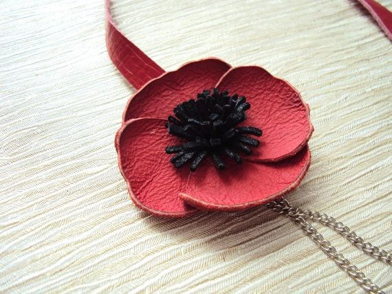 Red Poppy Necklace Floral Leather Jewelry Red by BijuBrill on Etsy