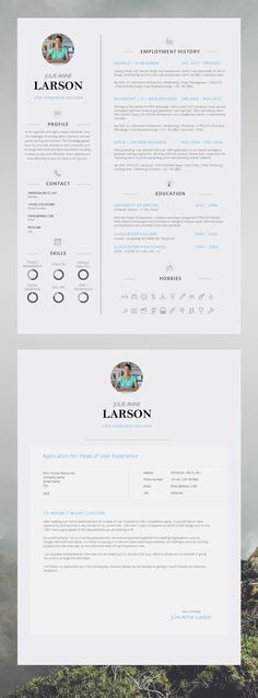 Super Slick Single Page CV Template with Photo and Cover Letter - single page resume template