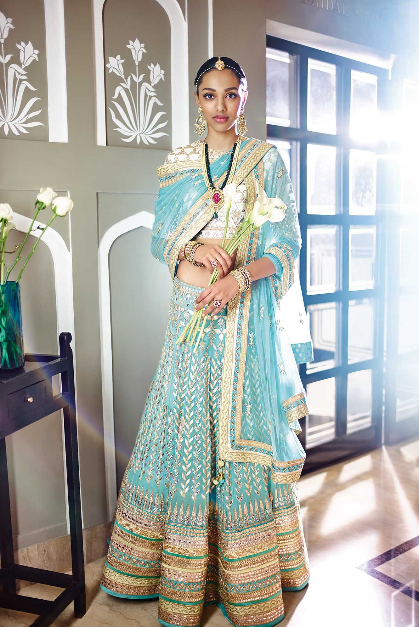 The Summer Bride by Anita Dongre | blue gota patti lehenga | 2015 ...