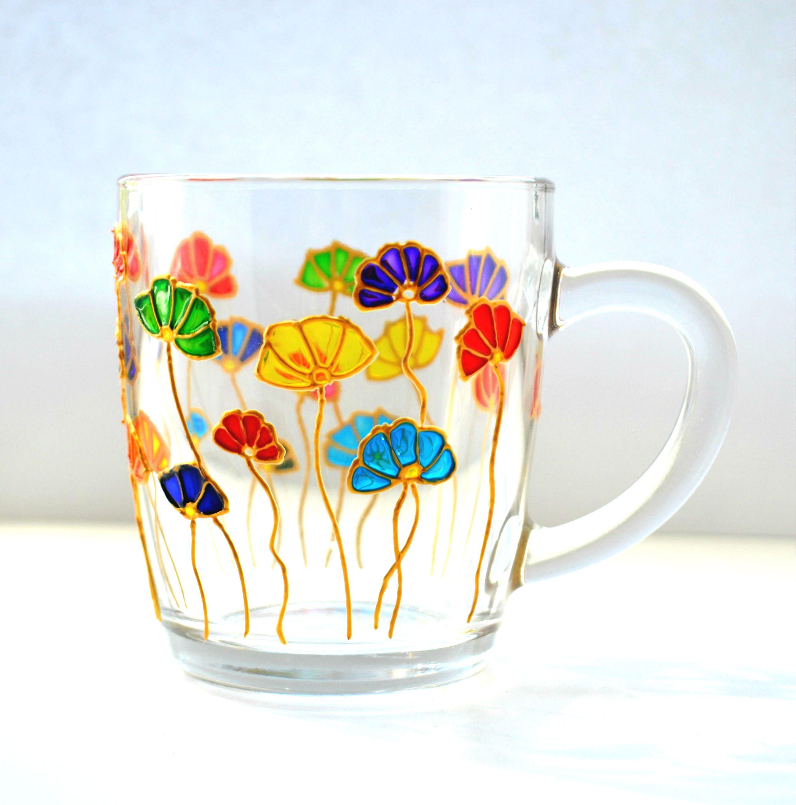 Floral Mug Painted Glass Mug Colorful Mugs Summer Florals