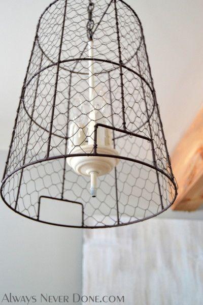 Chicken Wire Basket Turned Pendant Light Fixture