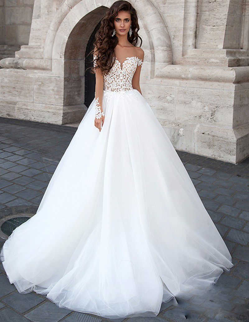 sexy lace appliques long sleeve wedding dresses aline tulle