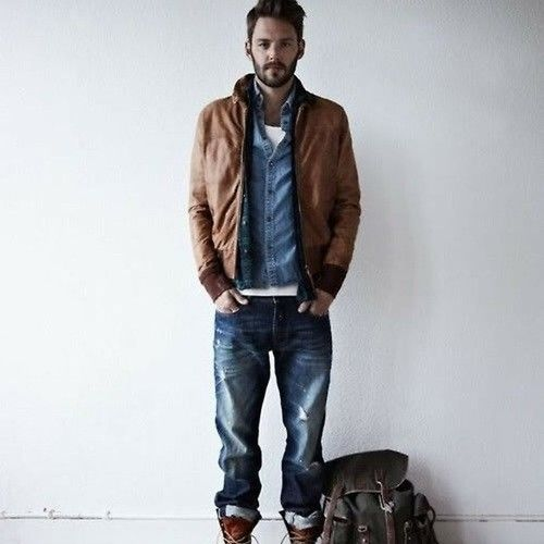 Men's Brown Leather Bomber Jacket, Blue Denim Shirt, White Crew ...