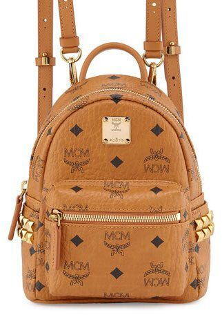MCM Stark X Mini Side Stud Backpack, Cognac | Rucksack mit