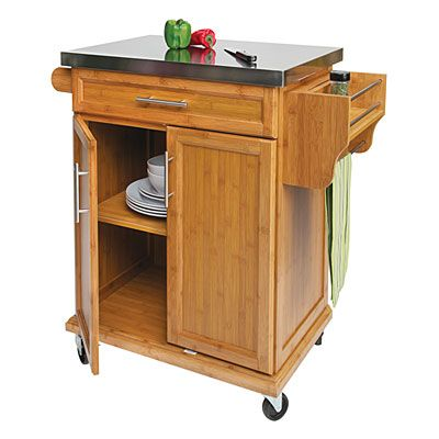 Beautiful Small Bamboo Stainless Steel Top Kitchen Cart