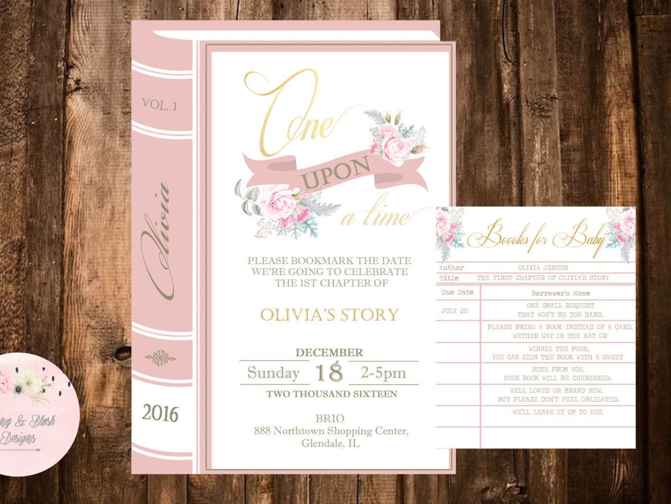 Once Upon a Time Invitation, Library Book Invitation Kit, Books for ...