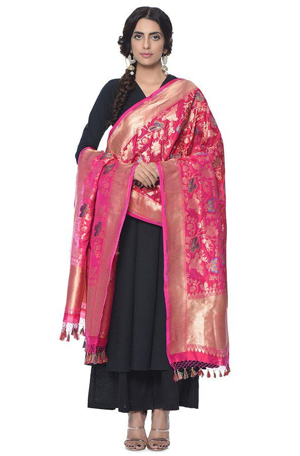 e2f8a8441f85ef Handwoven pure katan silk dupatta with woven butterfly motifs in pink color