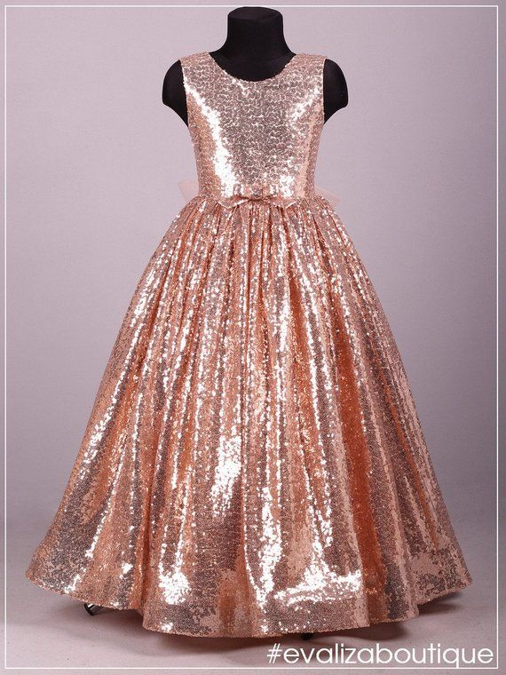 8c25ba150058 Blush Gold Rose Sequin Dress /Adult Sizes are Possible!/ Flower Girl ...