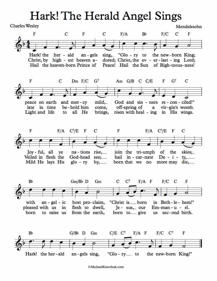 Free Sheet Music For Hark The Herald Angels Sing Awesome Christmas Piece Enjoy Christmas Piano Music Christmas Carols Lyrics Christmas Piano